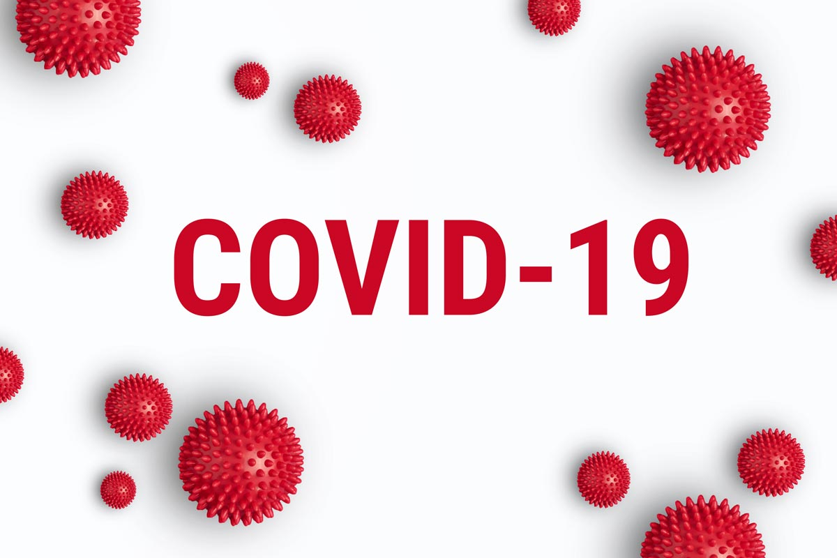 illustration of Covid-19 virus with Covid-19 text in the centre